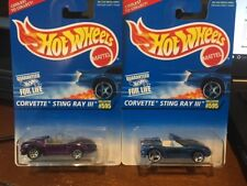1998 Hot Wheels Lot of Two Corvette Sting Ray III #595 Color & Wheel Variation