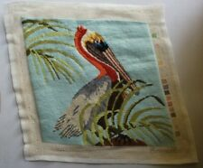 Pelican Water Palm Tree Needlepoint Completed Finished Wool