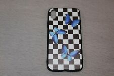 iPhone XR Checkered Blue Butterfly  Phone Case