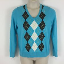 IZOD Women's Pullover Sweater Size Large 100% Cotton Argyle Diamond Turquoise