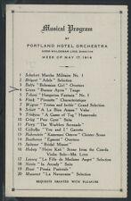 Rare OR Portland MUSICAL PROGRAM 1914 PORTLAND HOTEL ORCHESTRA Oregon