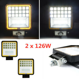 "4.3"" 126W LED Car Truck Work Light Flood Beam Driving Fog Lamp DRL Indicator X2"
