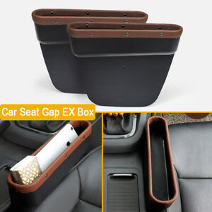 2x Brown PU Leather Car Seat Crevice Storage Box Cup Holder Gap Pocket Organizer