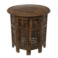 Cotton Craft Jaipur Solid Wood Hand Carved Accent Coffee Table - 18 Inch Round T