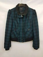 New Look Ladies jacket blue mix plaid with pockets wool blend size 14 02