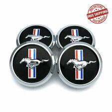 4x 68mm Black Mustang Wheel Rim Center Hub Caps Chrome Running Horse Logo 268