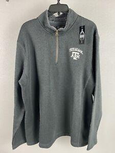 Champion Elite Mens Texas A & M 1/4 Zip Sweater Size XL Charcoal Gray