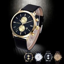 Herren Armbanduhren Chronographen Date Leder Quarz Militär Japan Wasserdicht Uhr