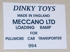 #281 Dinky Decal set for Pullmore Transporter RAMP #994