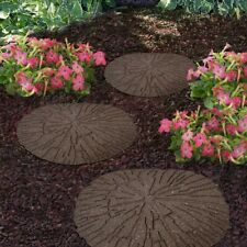 More details for log design rubber garden stepping stone hard wearing non-toxic stepping stones