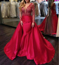 Jovani Couture 46708 Size 4 Red Mermaid Lace Bodice Overskirt Pageant Prom Dress
