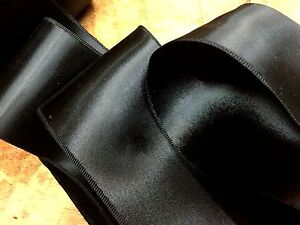 """Vintage 1930s  Double Sided 3"""" Rayon Satin Black Ribbon 1yd Made in France"""