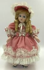 "Vintage Porcelain Southern Belle Doll 14"" With Display Stand"