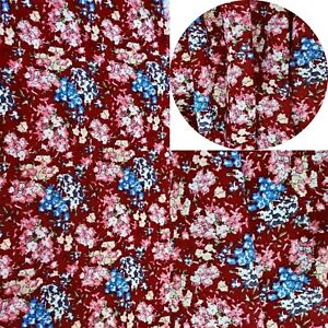 Printed,Viscose,Dress Fabric, Skirts Blouse, New Design Maroon Floral