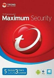 Trend Micro Maximum Security 12 2021 3 Year 5 Devices   Digital DELIVERY