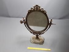 ancien Miroir sur pied oval en métal  french antique vintage
