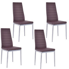 Set of 4 PU Leather Dining Side Chairs Elegant Design Home Furniture Brown New