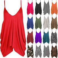 Ladies Loose Baggy Lagenlook Oversized V-Neck Cami Top Strappy Vest Plain Hanky