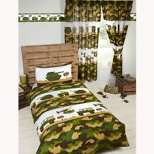 ARMY CAMP CAMO SINGLE DUVET COVER SET NEW TANK CAMOUFLAGE SOLDIER