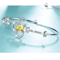 18k white gold gp made with SWAROVSKI crystal key bangle cuff bracelet small