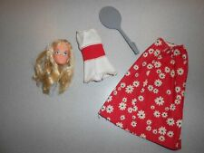 Vintage 1976 Free Moving Barbie Head #7270 and Original Outfit Skirt & Racket