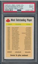 OUTSTANDING PLAYER LIST FROM 1953-69 1970 O-PEE-CHEE CFL 1970 NO 111 PSA 9 27927