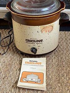 Vintage Rival 3.5 qt Crock-Pot Slow Cooker Stoneware Model 3100 Brown Tested