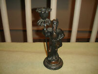 Vintage Viking Warrior Candlestick Holder Cast Metal Spelter Candle Holder