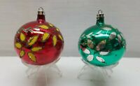 Vintage Poland Mercury Glass Christmas Tree Ornament Balls Bauble Mica Flower