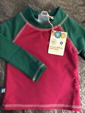 NWT New Baby Girl's Honest Company Swim Shirt Rash Guard 3 6 UPF 50
