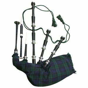 Scottish Great Highland Rosewood Black Watch Bagpipe Silver Mounts Polished Wood