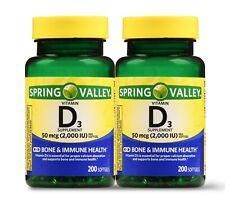 New Spring Valley Vitamin D3 Softgels 50 mcg 2000 IU 200 Ct 2 Pk