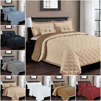 Embossed Bedspread Quilted Throw 5 Piece Bedding Comforter Set in All UK Size