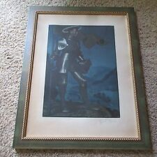 ANTIQUE PENCIL SIGNED LITHOGRAPH KNIGHT WITH HALO SOLDIER ICONIC 19TH CENTURY