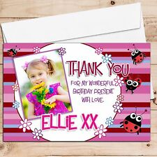 10 Personalised Girls Ladybirds Birthday Party Thank you PHOTO Cards N231