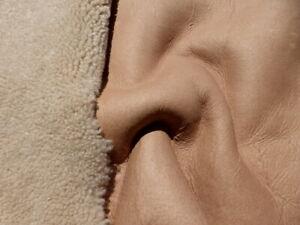 sheepskin shearling leather hide XL Curly Hair Light Brown w/matching matte back