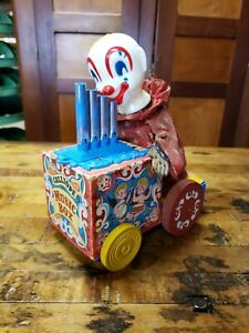 Vintage Mattel 1950's Wheeled Calliope Clown Music Box Tag Along Pull Toy