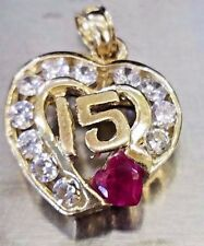 Pendant 10k solid 15 anos heart real yellow gold manmade diamond ruby charm