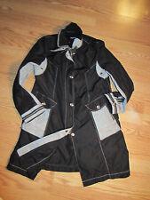 Finlandia Houndstooth Rainjacket Coat Silver Zippers Black Lg.