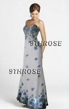 CREATE A SENSATION! WHITE & BLUE PRINTED BEADED FORMAL/PROM/EVENING GOWN AU10US8