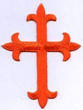 Iron On Applique Embroidered Patch Religious Fleur de lis Cross Orange