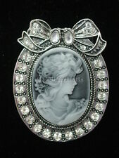 Cameo pin brooch gray and silvertone with rhinestones velvet gift boxed