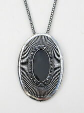"""Black oval acrylic and diamantes silver tone pendant on 17"""" and 2. 1/2"""" chain"""