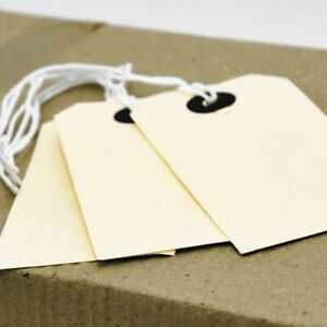 CARD LUGGAGE Gift TAG ON STRING Tie On Labels Suitcase Bag 7 SIZES Brown Manilla