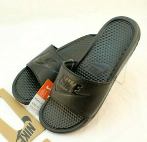 New NIKE Benassi JDI Size 12 Black / Black Men's Comfort Slide Sandals With Logo