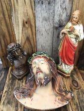Vintage Jesus Chalkware Statues 3 - Pieces