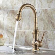 Antique Brass Gooseneck Spout One Handle Kitchen Sink Mixer Faucet Deck Mounted