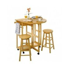 Small Dinette Set 3 Pc Wood Breakfast Nook Dining Table Chairs Kitchen Furniture