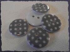Lot 6 BOUTONS Gris à pois blanc 18 mm * 2 trous * 1,8 cm button sewing mercerie