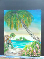 Original Acrylic Painting 8 x 10 Canvas Panel, Beach  Cottage Coastal Art
